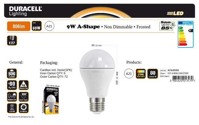 Duracell® LED A21 (E27, 806 Lumen, 10 Watt, warm weiß)