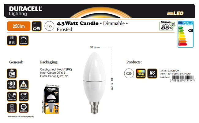 Duracell® LED C25 (E14, 250 Lumen, 4,3 Watt, Candle, dimmbar, matt, warm weiß)