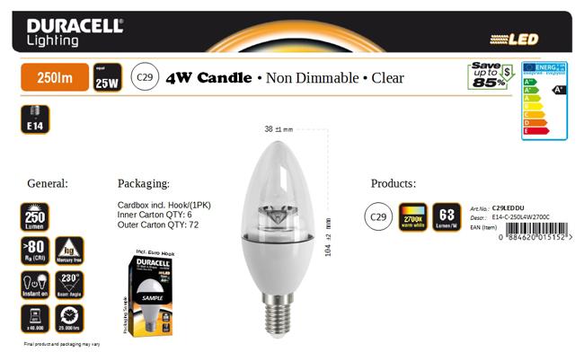 Duracell® LED C29 (E14, 250 Lumen, 4 Watt, Candle, klar, warm weiß)