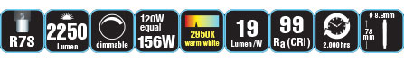 Duracell® HALOGEN EL1 (R7S, 2250 Lumen, 120 Watt, Linear, warm weiß, dimmbar)