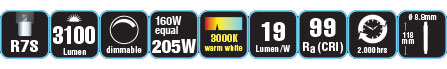 Duracell® HALOGEN EL2 (R7S, 3100 Lumen, 160 Watt, linear, warm weiß, dimmbar)