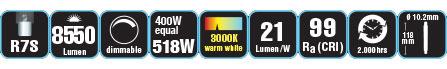 Duracell® HALOGEN EL4 (R7S, 8550 Lumen, 400 Watt, linear, warm weiß, dimmbar)
