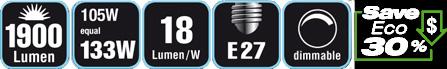 Duracell® HALOGEN EA7 (E27, 1900 Lumen, 105 Watt, A-Shape, warm weiß, dimmbar)