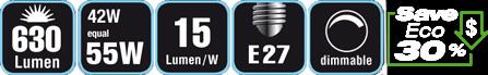 Duracell® HALOGEN EA3 (E27, 630 Lumen, 42 Watt, A-Shape, warm weiß, dimmbar)