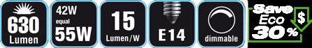 Duracell® HALOGEN EC8 (E14, 630 Lumen, 42 Watt, Candle, warm weiß, dimmbar)