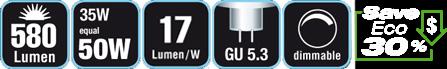Duracell® HALOGEN ES3 (G 5.3, 580 Lumen, 35 Watt, Spot, warm weiß, dimmbar)