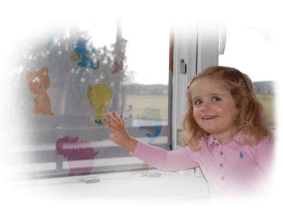 Jarolift Fliegengitter für Fenster mit Kindermotiven 130 x 150 cm weiß