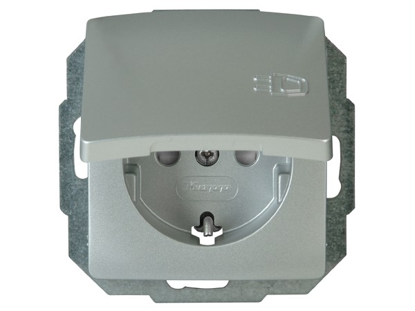 Schutzkontakt-Steckdose mit Klappdeckel Serie Paris silber - Kopp (920820085)