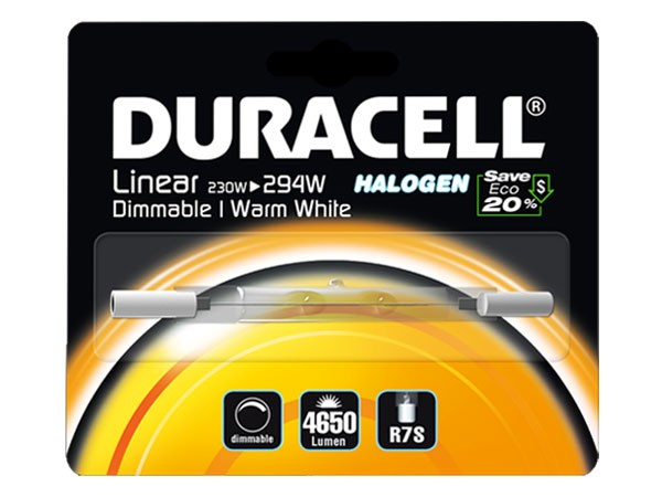 Duracell® HALOGEN EL3 (R7S, 4650 Lumen, 230 Watt, linear, warm weiß, dimmbar)