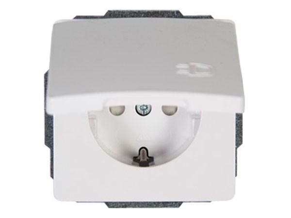Schutzkontakt-Steckdose mit Deckel und erhöhtem Berührungsschutz rein-weiß Serie Venedig - Kopp