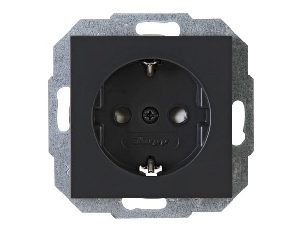 Schutzkontakt-Steckdose mit erhöhtem Berührungsschutz Serie Athenis anthrazit Kopp (940015083)
