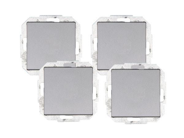 PROFI-PACK: 4 x Universalschalter (Aus- und Wechselschalter) Serie Athenis stahl Kopp (589647058)