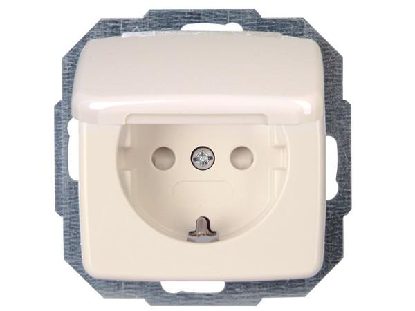 Schutzkontakt-Steckdose mit Deckel und erhöhtem Berührungsschutz (Kinderschutzabdeckung) Serie Rivo