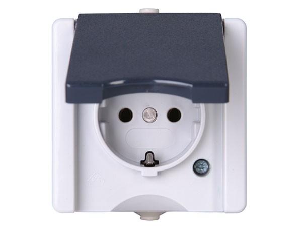 Schutzkontakt-Steckdose mit Deckel IP44 AP-Feuchtraum Serie proAQA - Kopp grau (947456005)