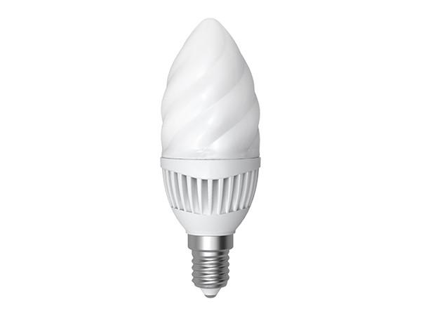 LED-Lampe E14 verdrehte Kerze 5W 3000K warm weiß (LL-G60145C)