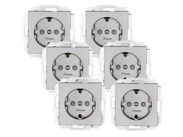 PROFI-PACK: 6 x Schutzkontakt-Steckdose mit erhöhtem Berührungsschutz Serie Athenis stahl Kopp