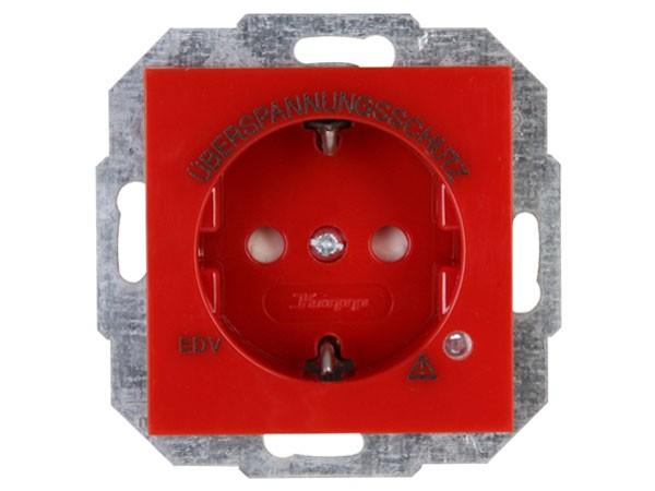 Schutzkontakt-Steckdose mit Geräte-Überspannungsschutz Objekt HK 07 rot Kopp (951429008)
