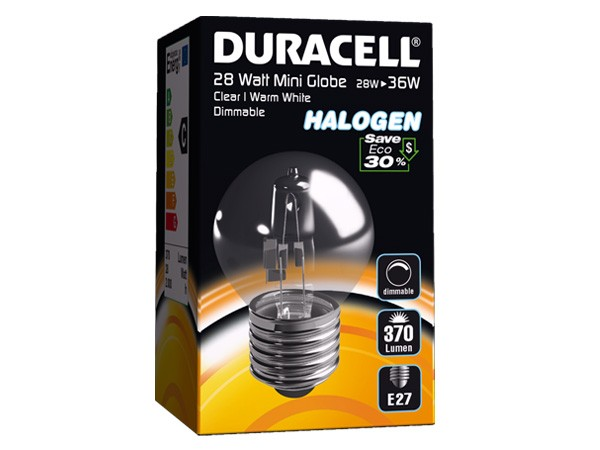 Duracell® HALOGEN EM3 (E27, 370 Lumen, 28 Watt, Mini Globe, warm weiß, dimmbar)