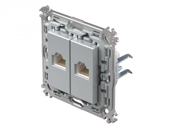 TEM Serie Modul Plus Netzwerkdose CAT. 5e zweifach silber (CK37ESXO-D)