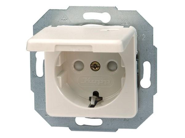 Schutzkontakt-Steckdose mit Deckel und erhöhtem Berührungsschutz Serie Europa creme-weiß Kopp
