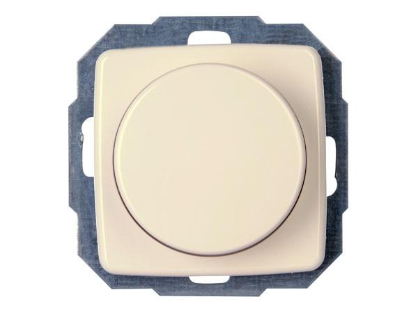 Elektronischer Dimmer mit Wippen-Wechselschalter (Phasenabschnitt) Serie Rivo creme-weiß Kopp