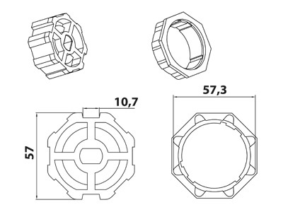 Vestamatic Vestaline Adapter für Motorserie VL-45 60mm Achtkant-Welle (40000030)