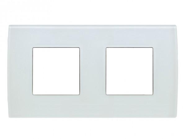 TEM Serie Modul Plus PURE Glas Abdeckrahmen 2x2M Eisweiß (OP24GW-U)