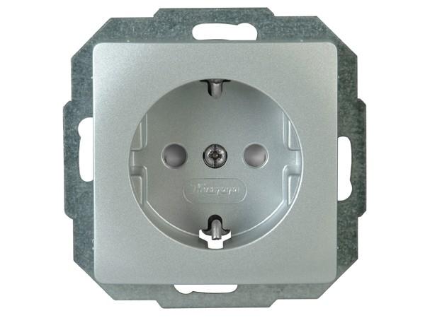 Schutzkontakt-Steckdose mit Kinderschutzabdeckung Serie Paris silber - Kopp (920620089)