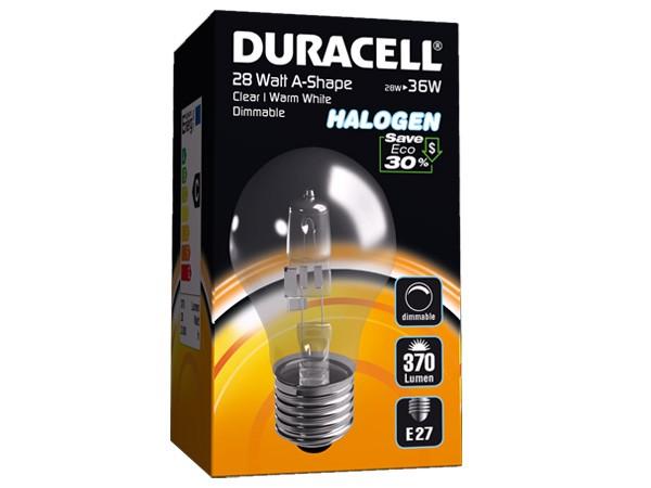 Duracell® HALOGEN EA1 (E27, 370 Lumen, 28 Watt, A-Shape, warm weiß, dimmbar)