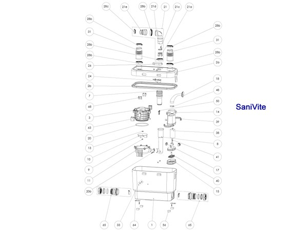 Sanibroy SFA  Rückstauklappe Unterteil (XR2210)