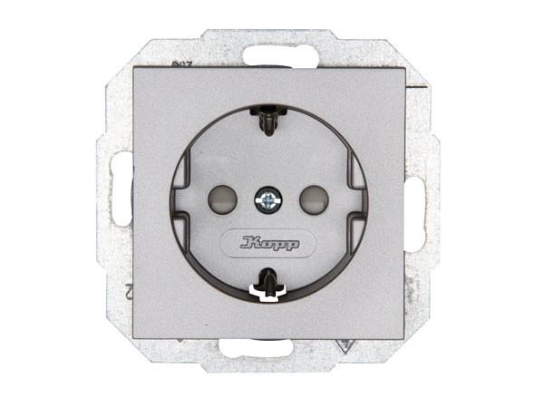 Schutzkontakt-Steckdose mit erhöhtem Berührungsschutz Serie Athenis stahl Kopp (940047086)