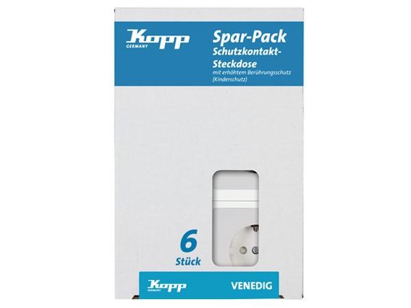 PROFI-PACK: 6x Schutzkontakt-Steckdose mit erhöhtem Berührungsschutz rein-weiß Serie Venedig - Kopp