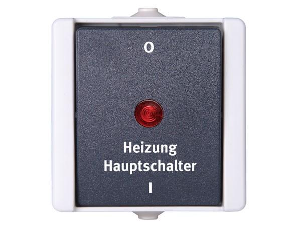 Heizungshauptschalter beleuchtet IP44 AP-Feuchtraum Serie proAQA - Kopp grau (541356004)