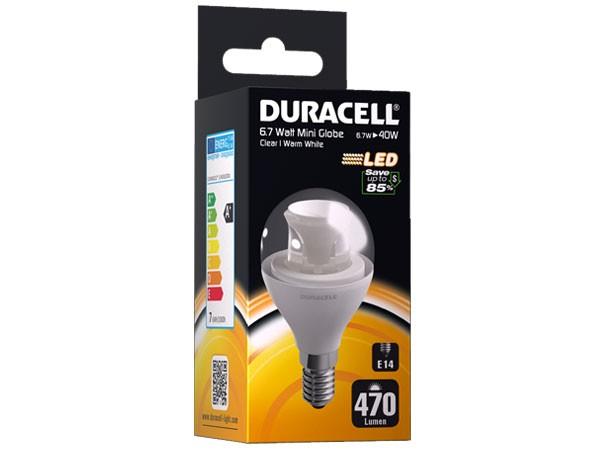 Duracell® LED M33 (E14, 470 Lumen, 6.7 Watt, klar, warm weiß)
