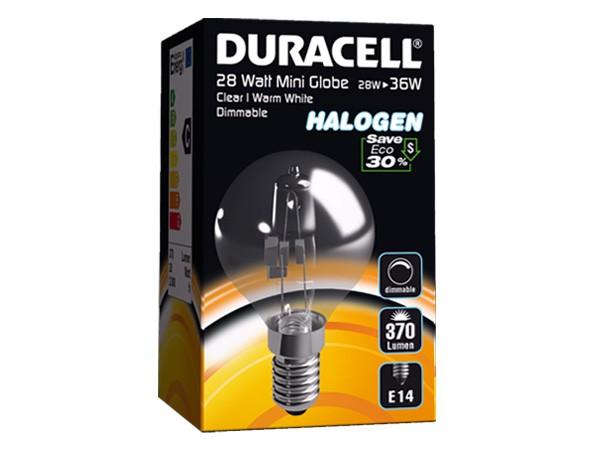 Duracell® HALOGEN EM3 (E14, 370 Lumen, 28 Watt, Mini Globe, warm weiß, dimmbar)