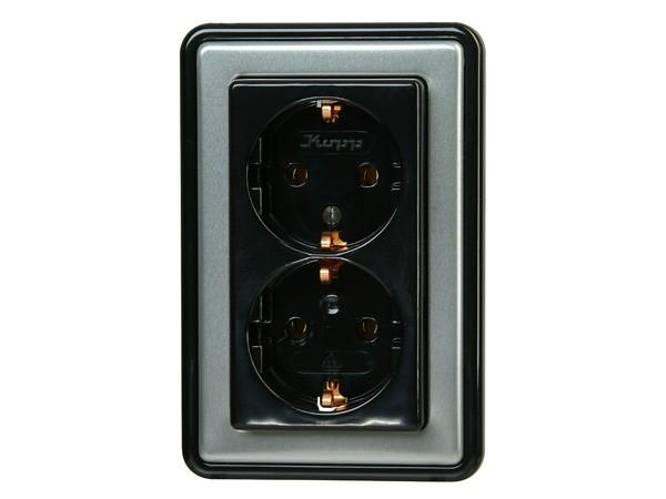 Schutzkontakt-Steckdose 2-fach mit erhöhtem Berührungsschutz stahl Serie Vision - Kopp (118320087)