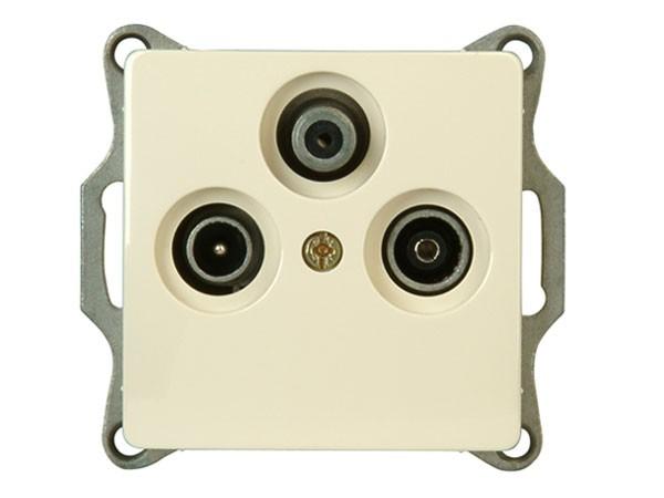 Antennensteckdose mit drei Ausgängen TV/RF/SAT Serie Paris creme-weiß - Kopp (921401081)