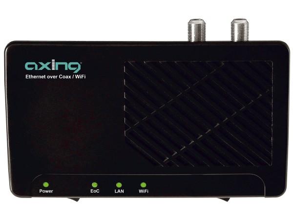Axing EOC 2-00 2 Stück Ethernet over Coax Netzwerk via Koaxialkabel Einzeladapter mit WLAN (500Mbps,