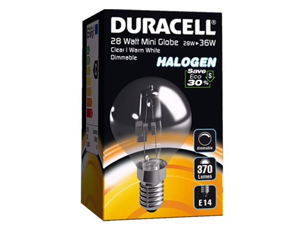 4 * Duracell® HALOGEN EM3 (E14, 370 Lumen, 28 Watt, Mini Globe, warm weiß, dimmbar)