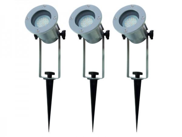 RITOS LEDs Garden Gartenspot mit Erdspieß Set, 3 Stück silber (0087411712)