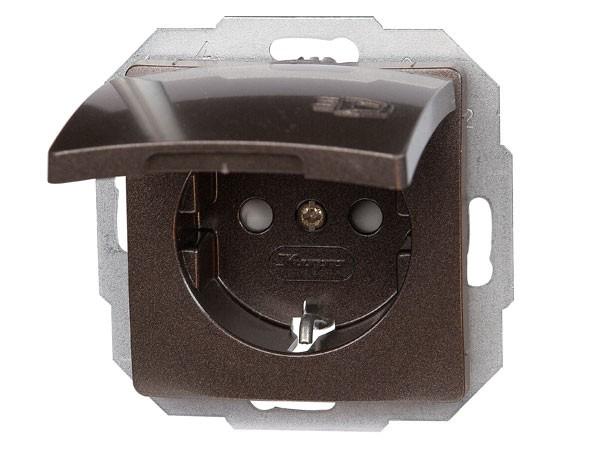 Schutzkontakt-Steckdose mit Deckel und erhöhtem Berührungsschutz Serie Paris palisander-braun - Kopp