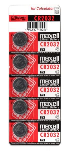 Knopfzelle Maxell CR2032 5er Blister, 3,0 Volt, Lithiumbatterie