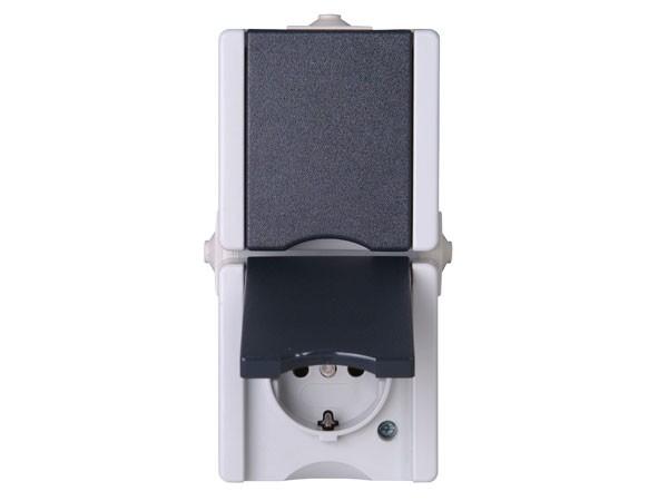 Schutzkontakt-Steckdose 2-fach mit Deckel senkrecht IP44 AP-Feuchtraum Serie proAQA - Kopp grau