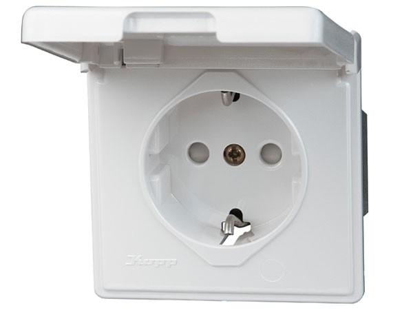 Schutzkontakt-Steckdose mit Deckel und erhöhtem Beührungschutz Serie Vision arktis-weiß Kopp
