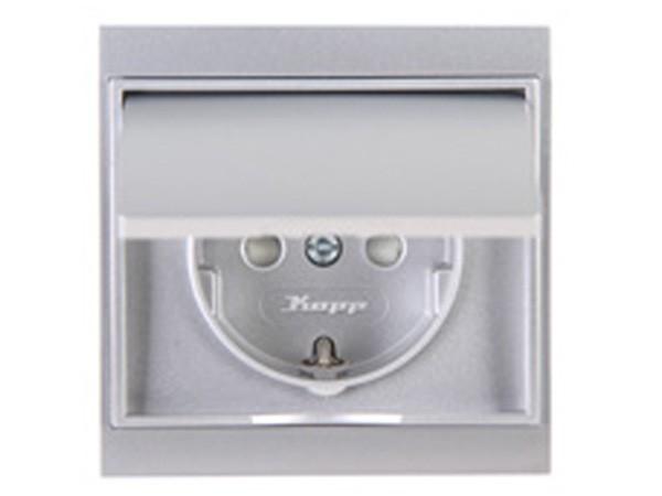 Schutzkontakt-Steckdose mit Deckel und erhöhtem Berührungsschutz silber Serie Malta - Kopp 911520080