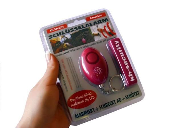 kh-security Schlüsselalarm mit LED-Lampe, pink (100137)