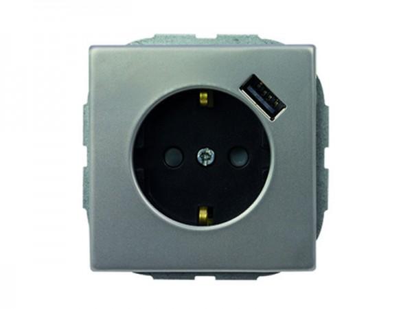 REV-Ritter Edelstahl Steckdose mit Kinderschutz und USB-Modul (0244142104)