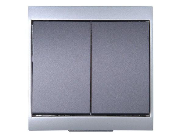 Wechsel-/Wechselschalter silber-anthrazit Serie Malta - Kopp (620315089)