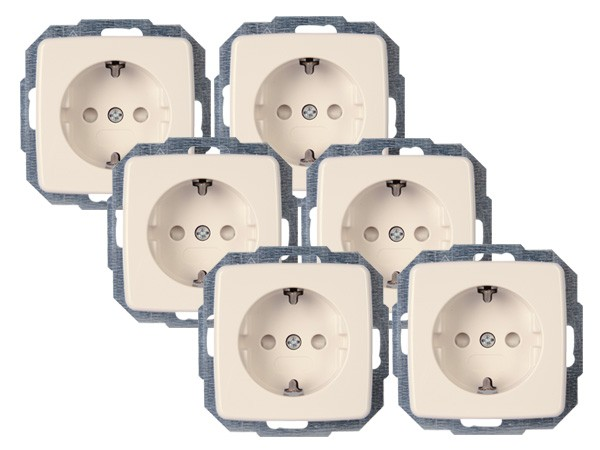 PROFI-PACK: 6x Schutzkontakt-Steckdose mit erhöhtem Berührungsschutz (Kinderschutz) Serie Rivo rein