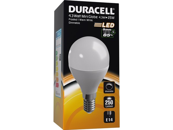 Duracell® LED M25 (E14, 250 Lumen, 4,3 Watt, Mini Globe, dimmbar, warm weiß, matt)